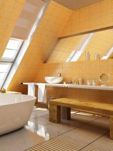 Bad unterm Dach Gelbe Fliesen