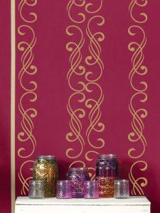 Orientalisches Schlafzimmer - rote Wand mit Ornament