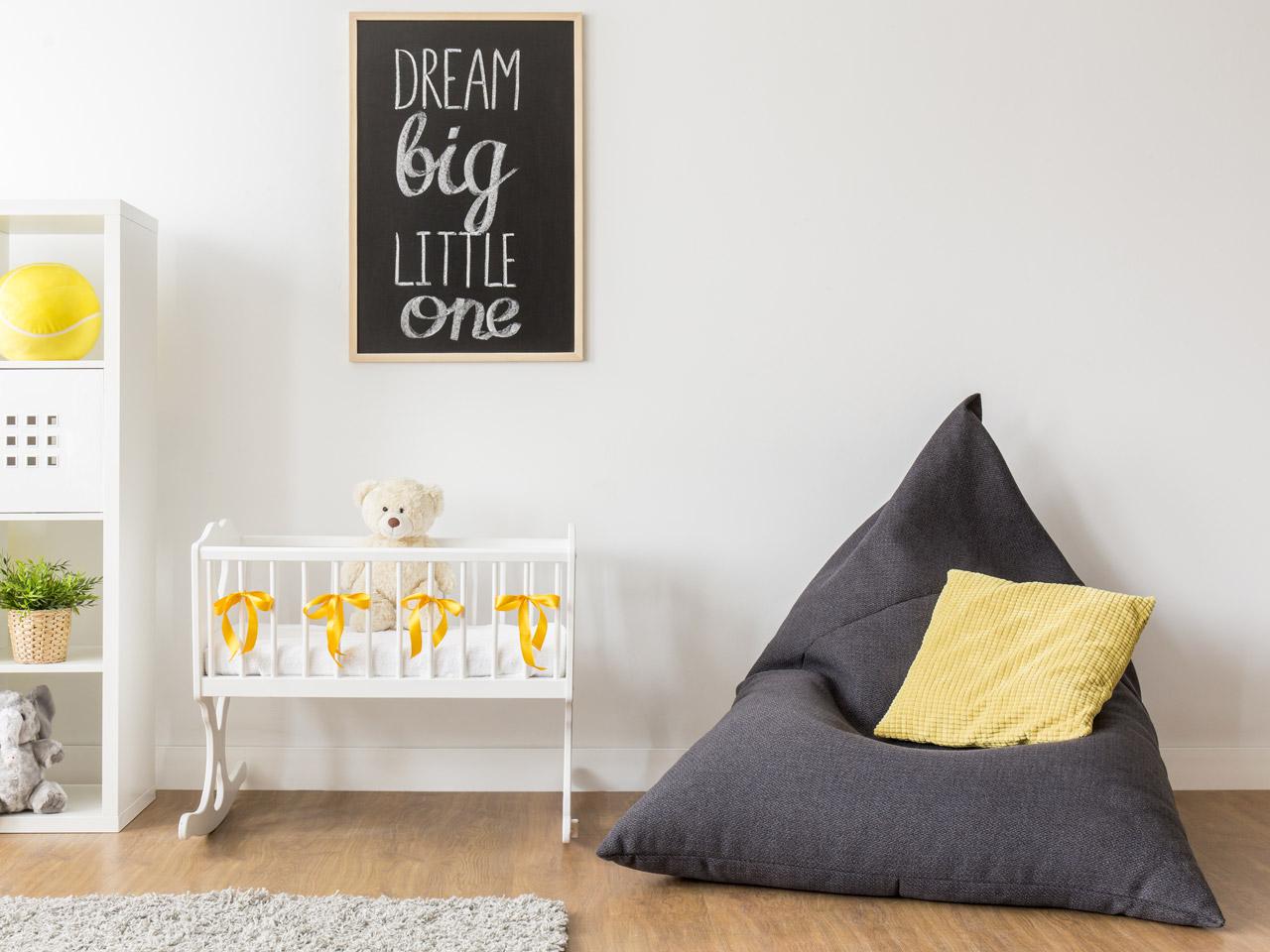 Sitzsack Grau Gelb Babyzimmer