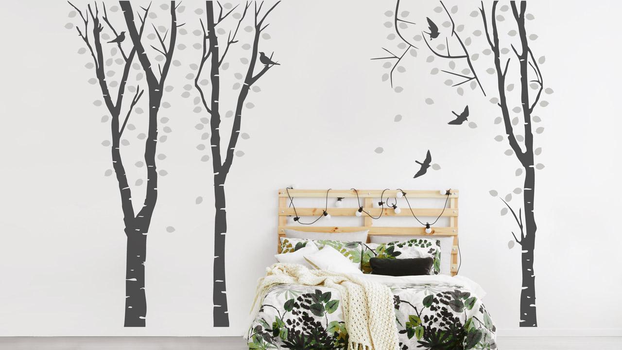 Schön Wandtattoo Bäume Ideen Von Birkenwald Als Dekoration Im Schlafzimmer