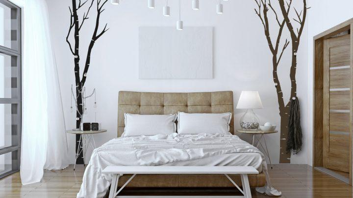 Wandtattoo Garderobe als Birken im Schlafzimmer