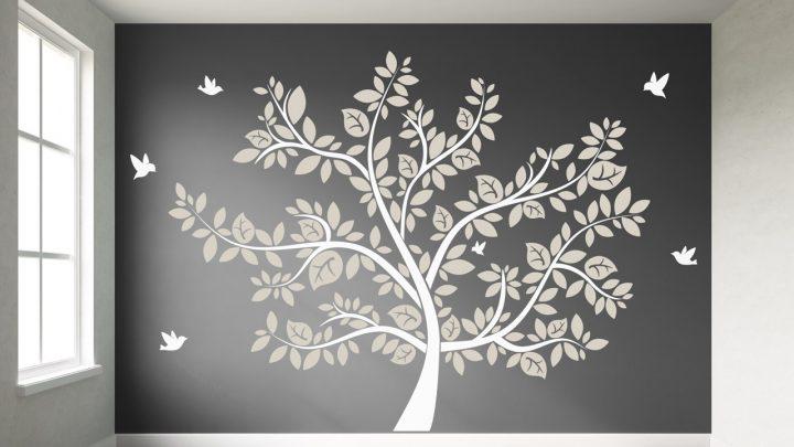 Großer Wandtattoo Baum Weiss mit Beige