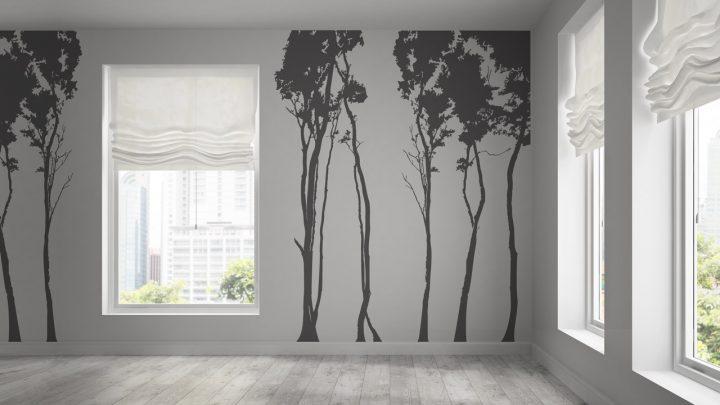 Wandtattoo Laubbäume als Silhouetten