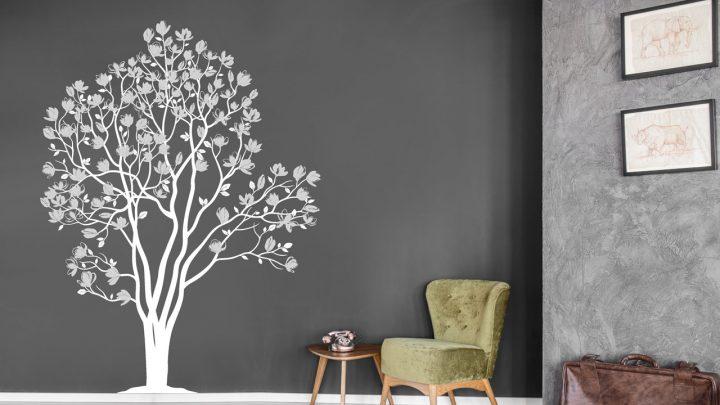 Wandtattoo Magnolienbaum weiß