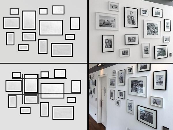 Beispiel für die Ausrichtung der Bilder an der Bilderwand